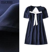 Dress Summer 2020 Navy Blue S,M,L Short skirt singleton  Short sleeve Sweet square neck High waist Socket A-line skirt puff sleeve Others Type X bow Chiffon solar system