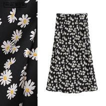 skirt Summer 2020 S,M,L Black flower longuette Sweet High waist A-line skirt Decor Type A TRAF Countryside