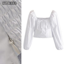shirt White, black S,M,L Spring 2020 cotton 96% and above Long sleeves commute Short style (40cm < length ≤ 50cm) square neck Socket puff sleeve Solid color Self cultivation TRAF Korean version