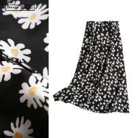 skirt Summer 2020 S,M,L black longuette Retro High waist A-line skirt Decor Type A TRAF printing