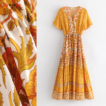 Dress Summer of 2019 S,M,L longuette singleton  Short sleeve Sweet V-neck Elastic waist Decor Single breasted A-line skirt routine Others Type X TRAF Bohemia