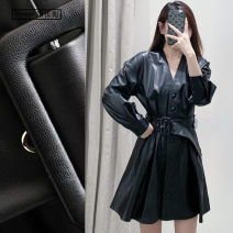 Dress Spring 2020 black XS,S,M,L Short skirt singleton  Long sleeves street V-neck High waist zipper A-line skirt puff sleeve Others Type X TRAF 1537G More than 95% PU Europe and America