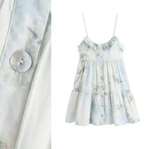 Dress Spring 2021 Tie dyeing XS,S,M,L Short skirt singleton  Sleeveless street V-neck High waist Broken flowers Socket A-line skirt camisole 18-24 years old Type A TRAF Open back, agaric, asymmetric, printed More than 95% polyester fiber Europe and America