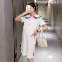 Dress Other / other White, black, collection and purchase ⭐ priority in delivery M,L,XL,XXL Korean version Short sleeve Medium length summer Lapel Solid color Space cotton