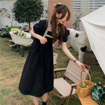 Dress Other / other Black, collection and purchase ⭐ Priority shipping, black (quality version) M. L, XL, XXL, XXXL, large 4XL Korean version Short sleeve Medium length summer square neck Solid color Space cotton