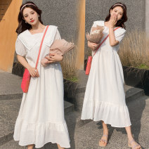 Dress Other / other M,L,XL,XXL Korean version Short sleeve have more cash than can be accounted for summer Lapel Solid color Chiffon