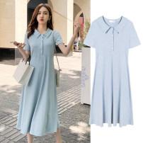 Dress Other / other M,L,XL,XXL Korean version Short sleeve Medium length summer Lapel Solid color