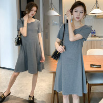 Dress Other / other Black, collection and purchase ⭐ Priority delivery, dark grey M,L,XL,XXL Korean version Short sleeve Medium length summer Crew neck Solid color Space cotton