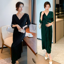 Dress Other / other Black, collection and purchase ⭐ Priority shipping, dark green M,L,XL,XXL Korean version Short sleeve Medium length summer V-neck Solid color