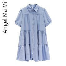 Dress Other / other Light blue, white M,L,XL,XXL Korean version Short sleeve Medium length summer Lapel Solid color