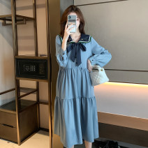 Nursing clothes Blue, blue (quality version) M,L,XL,2XL Other / other Socket spring and autumn Long sleeves have more cash than can be accounted for Korean version Dress Solid color Side opening