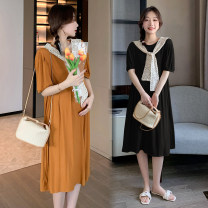 Dress Other / other Collection and purchase ⭐ Priority delivery, black skirt + shawl, orange skirt + shawl M,L,XL,XXL Korean version Short sleeve Medium length summer Crew neck Solid color