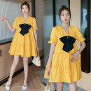 Dress Other / other White, yellow, collection and purchase ⭐ Priority delivery, white (quality version), yellow (quality version) M,L,XL,XXL Korean version Short sleeve Medium length summer V-neck Solid color Cotton and hemp
