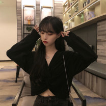 Sweater / sweater Autumn of 2019 White, black Average size Long sleeves have cash less than that is registered in the accounts Socket singleton  routine V-neck easy commute routine Solid color 18-24 years old 30% and below Korean version other Splicing