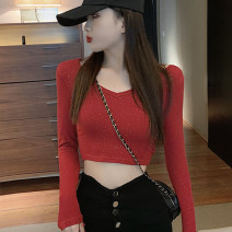 T-shirt Red, white, black Average size Spring 2020 Long sleeves V-neck Self cultivation have cash less than that is registered in the accounts routine commute other 51% (inclusive) - 70% (inclusive) 18-24 years old Korean version Solid color Sequins