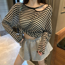 T-shirt White, black, stripe Average size Summer of 2019 Long sleeves Crew neck easy Regular Bat sleeve commute cotton 86% (inclusive) -95% (inclusive) Thick horizontal stripe Other / other