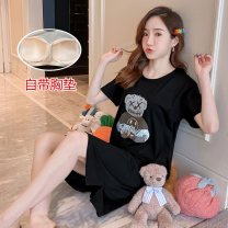 Nightdress Other / other 160(M),165(L),170(XL),175(XXL) Cartoon Short sleeve pajamas Middle-skirt summer Cartoon animation youth Crew neck cotton printing 21% (inclusive) - 40% (inclusive) Cotton and hemp A variety of nightdresses with non detachable pads 200g and below