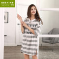 Nightdress Keshine / kaxun S M L XL Simplicity Middle sleeve Leisure home Middle-skirt summer stripe youth V-neck cotton printing More than 95% cotton 200g and below Summer of 2018 Cotton 100% Pure e-commerce (online only)