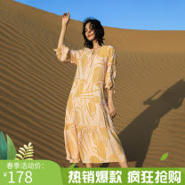 Dress Autumn of 2019 Picture color S,L,M Mid length dress singleton  Crew neck High waist Broken flowers Socket A-line skirt Others 25-29 years old Yicheng forest printing 71% (inclusive) - 80% (inclusive) other polyester fiber