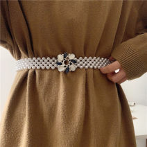 Belt / belt / chain other Silver, gold female belt Versatile Single loop Youth, youth, middle age a hook Geometric pattern soft surface 3.2cm alloy Bare, inlaid, hollow, beaded, elastic Other / other 8 Convolvulus with four layers of Pearl