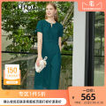 Dress Spring 2020 Dark green S M L XL Mid length dress singleton  Short sleeve commute Crew neck High waist Solid color Socket A-line skirt routine 35-39 years old Type A CADIDL court Cut out lace up button CF01272I7 More than 95% Chiffon polyester fiber Polyester 100%