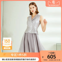 Dress Spring 2020 Soft grey S M L XL Short skirt singleton  Sleeveless commute Polo collar middle-waisted Solid color Socket A-line skirt 35-39 years old Type A CADIDL Ol style 30% and below Chiffon nylon Same model in shopping mall (sold online and offline)
