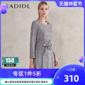 Dress Winter of 2018 grey S/160 M/165 L/170 XL/175 Mid length dress singleton  Long sleeves commute Crew neck middle-waisted lattice Socket A-line skirt shirt sleeve Others 35-39 years old Type X CADIDL Ol style Frenulum C1AHB65270 51% (inclusive) - 70% (inclusive) polyester fiber