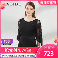 Dress Spring of 2019 black S/160 M/165 L/170 XL/175 Middle-skirt singleton  elbow sleeve commute Crew neck High waist 35-39 years old CADIDL Ol style 51% (inclusive) - 70% (inclusive) cotton