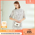 Dress Spring 2020 white S M L XL Middle-skirt singleton  elbow sleeve commute Crew neck Loose waist Dot Socket Big swing routine Others 35-39 years old Type H CADIDL lady Splicing More than 95% Chiffon polyester fiber Polyester 100% Same model in shopping mall (sold online and offline)