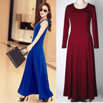 Dress Spring of 2018 XS,S,M,L,XL,2XL,3XL longuette singleton  Long sleeves street Crew neck High waist Solid color Socket Big swing routine camisole 25-29 years old Type A Zodiac 91% (inclusive) - 95% (inclusive) other polyester fiber Europe and America