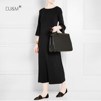 Dress Summer 2021 black longuette singleton  three quarter sleeve street Crew neck Loose waist Solid color Socket other pagoda sleeve Others Type H DJ&M More than 95% Silk and satin silk Europe and America