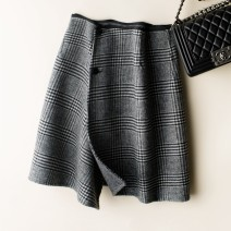 skirt Autumn of 2019 S,M,L Gray check [can be worn on both sides] Short skirt Natural waist A-line skirt lattice Type A More than 95% Wool wool