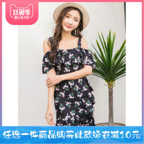 one piece  Helenda M,L,XL,XXL Skirt one piece With chest pad without steel support Nylon, others female Short sleeve Casual swimsuit other Lotus leaf edge