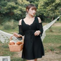 one piece  Helenda XXL,4XL,XXXL,5XL,6XL White, black Steel strap breast pad nylon female Middle sleeve Casual swimsuit