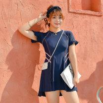 Split swimsuit Helenda Black, dark blue 2XL,3XL,4XL,5XL,6XL Skirt split swimsuit With chest pad without steel support female Crew neck