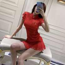 Dress Summer 2021 gules S,M,L Miniskirt singleton  Short sleeve commute middle-waisted Solid color Socket routine Others 18-24 years old Darcis Korean version nugag More than 95% polyester fiber