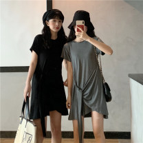 Dress Summer 2021 Gray, black M,L,XL Miniskirt singleton  Short sleeve commute Crew neck Loose waist Solid color Socket Irregular skirt routine Others 18-24 years old Type A Korean version Asymmetry 31% (inclusive) - 50% (inclusive) cotton