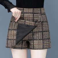 Casual pants Check pattern S,M,L,XL,2XL,3XL Winter 2020 shorts Wide leg pants High waist commute routine 25-29 years old Wool blended fabric Korean version pocket polyester fiber Asymmetry