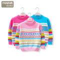Sweater / sweater 100cm,110cm,120cm,130cm,140cm,150cm,160cm cotton female Pink, rose, pink Maybe's world princess There are models in the real shooting Socket routine stand collar nothing Fancy wool stripe Cotton 100% cm291302 Class B