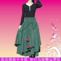 skirt Autumn 2020 S,M,L,XL,2XL Black, dark green, red longuette commute Natural waist A-line skirt Solid color Type A Fold, asymmetry, stitching, elastic waist