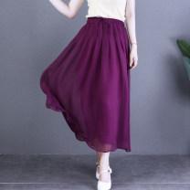 skirt Summer 2020 M, L Mid length dress commute Natural waist A-line skirt Solid color Type A literature