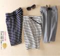 skirt Summer 2015 S (75-95 kg), m (96-110 kg), l (111-125 kg), XL (126-138 kg), 2XL (139-148 kg), quality assurance Light gray, black, Navy, white stripe, Navy Stripe, 100% Japanese cotton fabric, commodity quality guarantee, freight insurance Short skirt Versatile High waist skirt stripe Type A