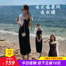 Dress Summer 2021 Black dress short, black dress long front split, black dress long back split XS,S,M,L,XL longuette singleton  Short sleeve commute square neck High waist Solid color Socket One pace skirt puff sleeve 18-24 years old Type H Other / other Korean version Chiffon Cellulose acetate