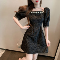 Dress Summer 2021 White, black S,M,L Short skirt singleton  Short sleeve commute square neck High waist puff sleeve 18-24 years old Korean version XL