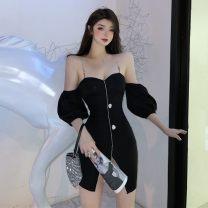 Dress Summer 2021 black S,M,L Short skirt singleton  Short sleeve commute One word collar routine 18-24 years old Korean version XT