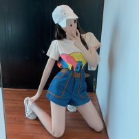 Fashion suit Summer 2021 S. M, l, average size Curly haired girl t , Denim shorts with belt 18-25 years old
