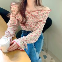 Lace / Chiffon Spring 2021 Pink flowers, green flowers Average size Long sleeves commute Socket singleton  easy Regular V-neck Decor puff sleeve 18-24 years old Korean version
