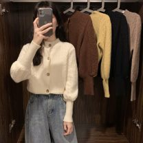 sweater Spring 2021 Average size Long sleeves Cardigan singleton  have cash less than that is registered in the accounts other 30% and below Crew neck commute puff sleeve 18-24 years old Other / other Single breasted