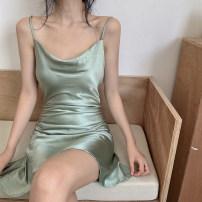 Dress Spring 2021 Green, black S,M,L Short skirt singleton  commute High waist 18-24 years old Korean version