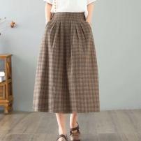 skirt Spring 2021 M, L Khaki, blue Mid length dress commute High waist A-line skirt Solid color Type A 18-24 years old 31% (inclusive) - 50% (inclusive) brocade hemp Zipper, open back